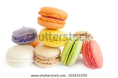 assortment of delicious french macaron cookies and biscuits isol