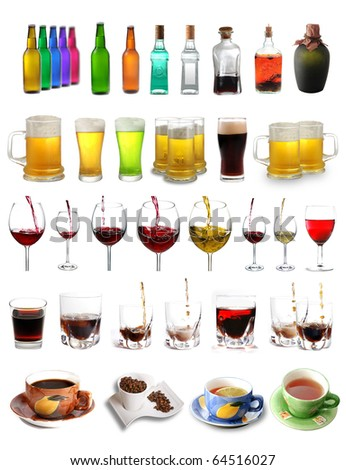 Assortment of different drinks isolated on white background