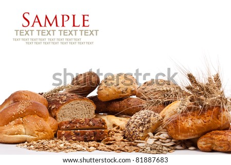 Assortment of different types of bread isolated on white background with text
