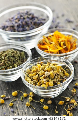 Assortment of dry medicinal herbs in glass bowls