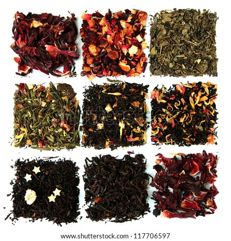 assortment of dry tea, isolated on white