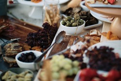 Assortment of food organised for guests on a grazing table