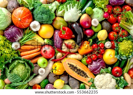 Assortment of  fresh fruits and vegetables - Shutterstock ID 553662235