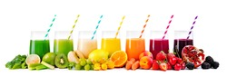 Assortment of fresh fruits and vegetables juices in rainbow colors isolated on white background