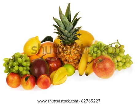 Assortment of fresh fruits, isolated on white