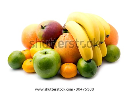 Assortment of fresh fruits on white background - stock photo