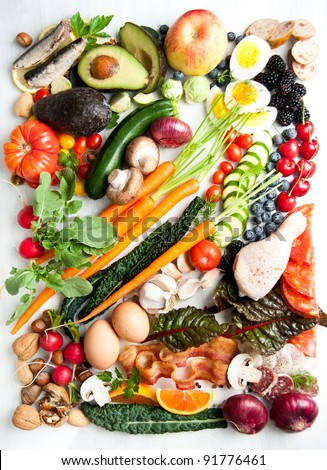 Assortment of Fresh Vegetables and Meats for Healthy Diet