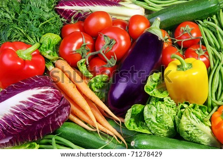 Assortment of fresh vegetables close up