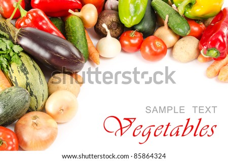Assortment of fresh vegetables  isolated on white