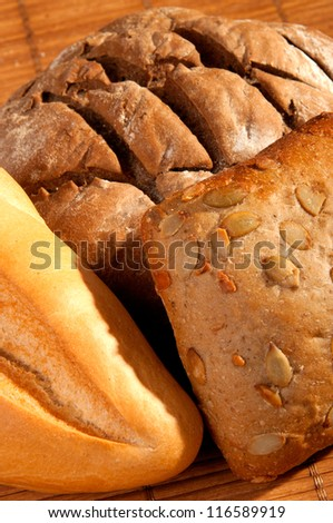 assortment of freshly baked bread - stock photo