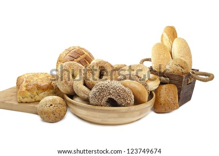 Assortment of freshly baked bread over the white background