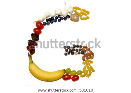 Assortment of fruits, vegetables and food elements forming the letter 'G'. White background.