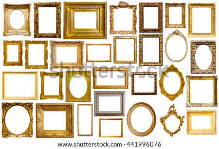 assortment of golden and silvery art and photo frames isolated on white background #441996076