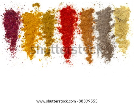 Assortment of ground powder spices isolated  on a white background