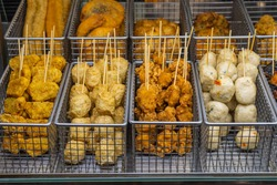 Assortment of Hong Kong fish ball and nugget skewers
