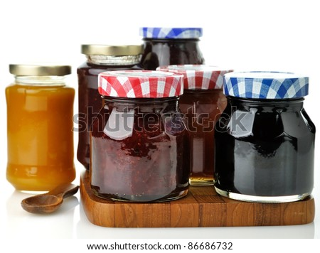 assortment of jam in the glass jars