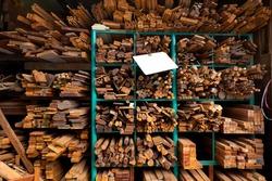 assortment of lumber type on shelf in warehouse store