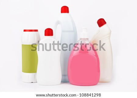 Assortment of means for cleaning isolated on white