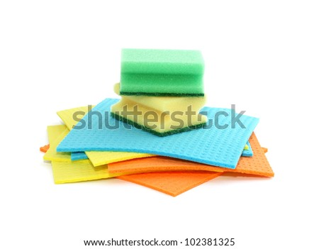 Assortment of means for cleaning isolated on white background