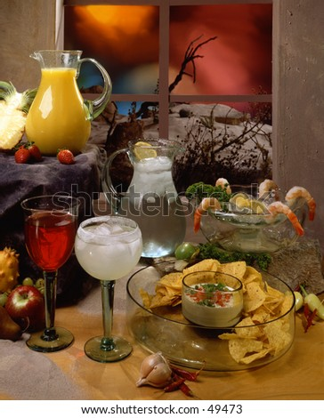 Assortment of Mexican apperizers and drinks