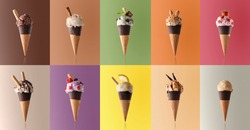 Assortment of natural fruit ice cream isolated with representative color background in a pattern. Front view