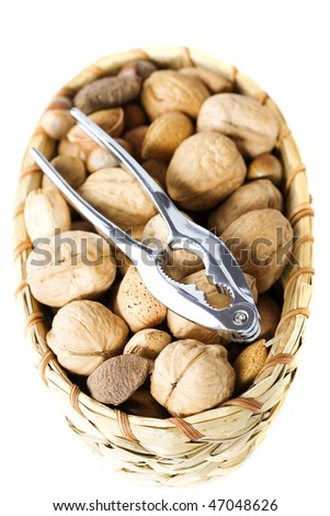 Assortment of nuts over white