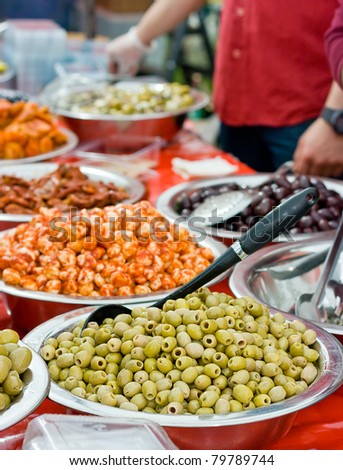 Assortment of olives at farmers market
