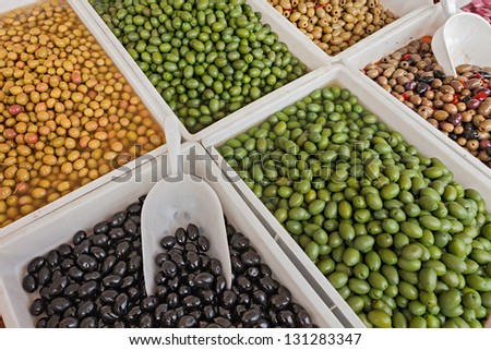 assortment of olives salted, preserved in brine or pickle, in italian market