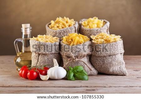 Assortment of pasta with fresh mediterranean ingredients