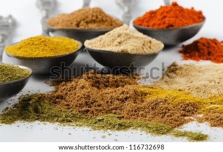 Assortment of powder spices on spoons.Selective focus