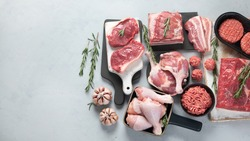 Assortment of raw meats on grey background. Top view with copy space
