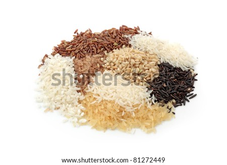 Assortment of rice isolated on white background