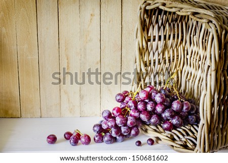 assortment of ripe sweet grapes in basket on wooden background/Grapes in the basket/ Summer Wine Season