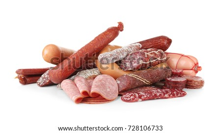 Assortment of sausages on white background