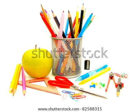 Assortment of school or office supplies on a white background