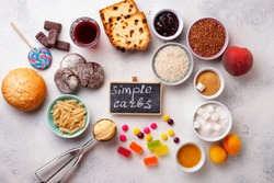 Assortment of simple carbohydrates food. Products high in sugar