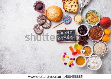 Assortment of simple carbohydrates food. Products high in sugar #1488458885
