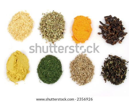 Assortment of spices for prepare tasty food on white background