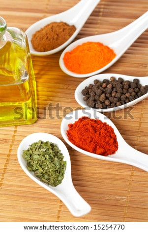 Assortment of spices in the spoons and oil bottle for prepare tasty food with soft shadow in the wooden background. Shallow depth of field