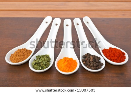 Assortment of spices in the spoons for prepare tasty food with soft shadow in the wooden background. Shallow depth of field