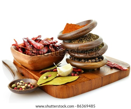 assortment of spices on a cutting board