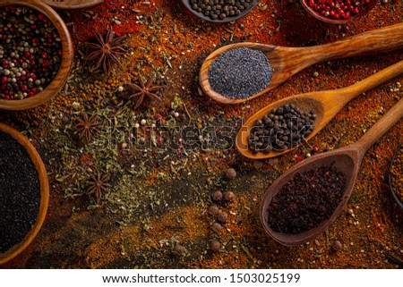 Assortment of spices, set of spices and condiments