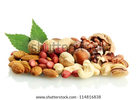 Shutterstock assortment of tasty nuts with leaves, isolated on white