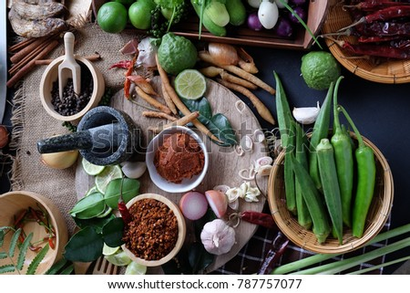 Assortment of Thai food Cooking ingredients. Spices ingredients chilli pepper garlicgalanga and kaffir lime leaves. #787757077