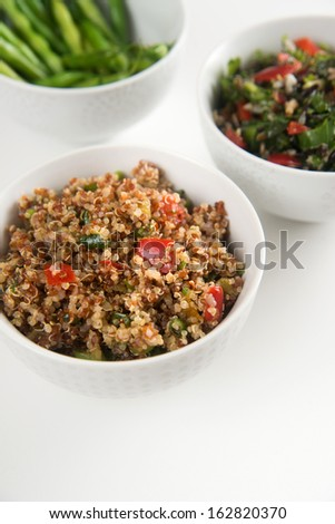 Assortment of Three Bowls with Healthy Salad Options