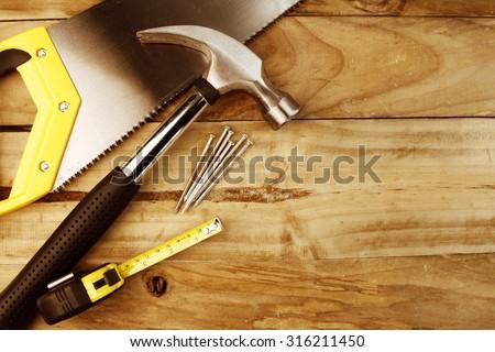 Assortment of tools on wood #316211450