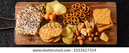 Assortment of unhealthy snacks. Diet or weight control concept.