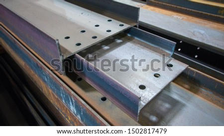 Assortment steel profiles in steel fabrication shop Stock foto ©