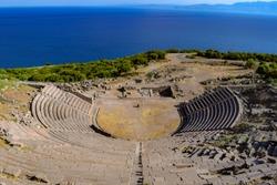 Assos Antique Amphitheatre. Ruins of the Amphitheatre at the ancient city of Assos. Behramkale, Canakkale,Turkey
