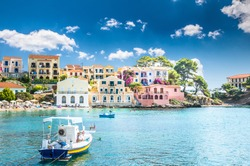 Assos on the Island of Kefalonia in Greece. View of beautiful bay of Assos village, Kefalonia island, Greece.